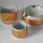 kuřácká souprava Brusel zlacený porcelán 60. léta