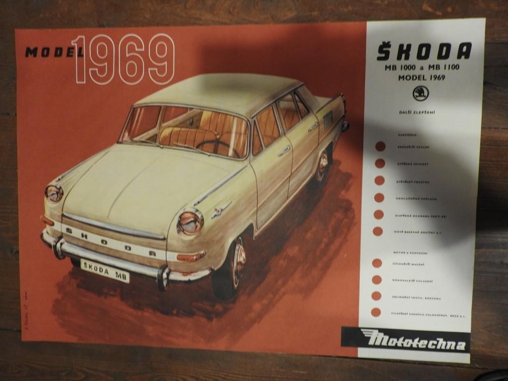 velký originální plakát, autor Vilém Cihelka 1968 Škoda MB model  1000 a 1100, model 1969 vydala Mototechna