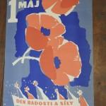 originální plakát, autor  Zelenka 1960 1. máj den radosti a síly slušný stav, drobná poškození