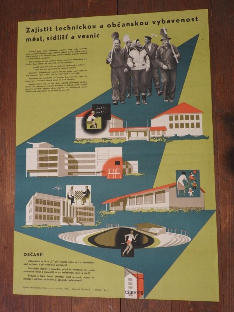 originální plakát, autor Jiří Havlín zajistit technickou a občanskou....1960 dobrý stav