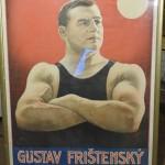 zarámovaný originální plakát, litografie Gustav Frištenský, řecko-římský zápasník Litograf Lambert Klabusay Holešov