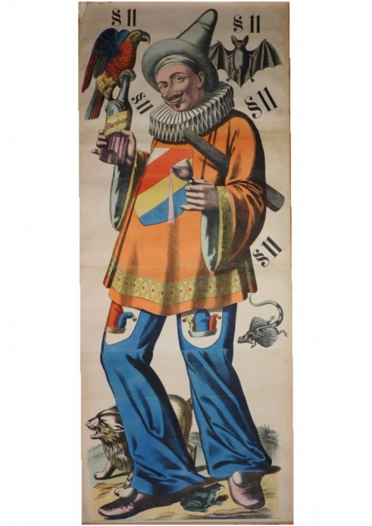 originální plakát litografie, harlekýn, clown Druck u. Verlag v.C. Buckardt s nachf in Veissenburg ( Alsass)  Vydavatel v.C. Buckardts  Veissenburg (Alsass),    N. 234